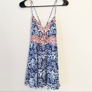 Windsor Tropical Print Embroidered Strappy Dress